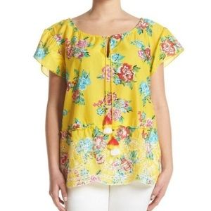 NWT Relativity Yellow Floral Short Sleeve Top